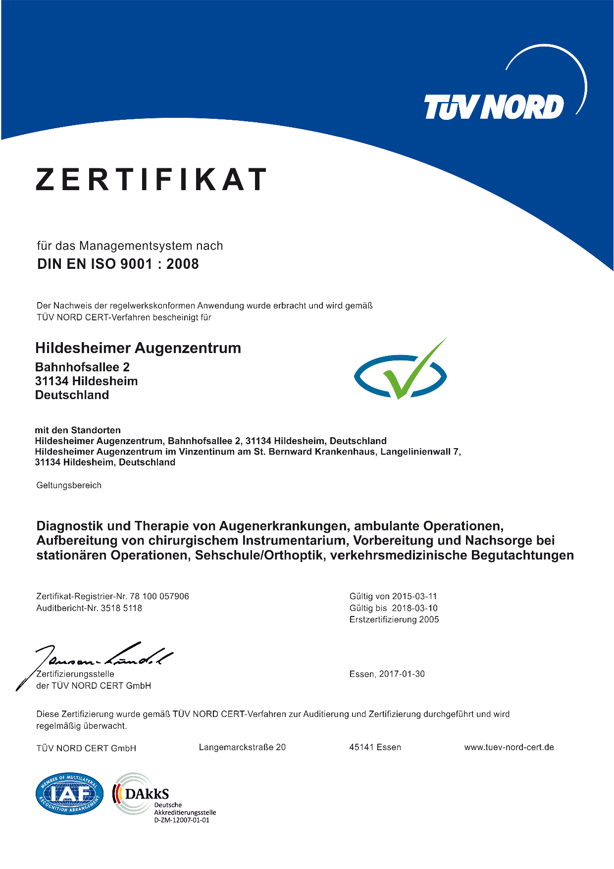 Qualitätsmanagementsystem nach DIN EN ISO 9001 : 2008 im Hildesheimer Augenzentrum